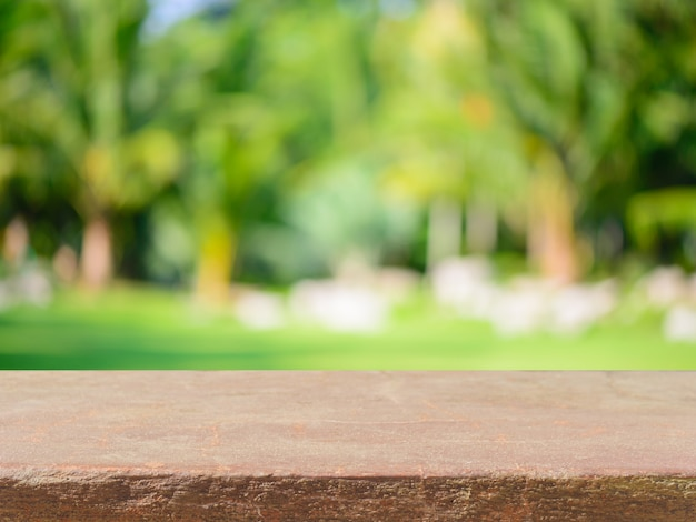stone board empty table in front of blurred background
