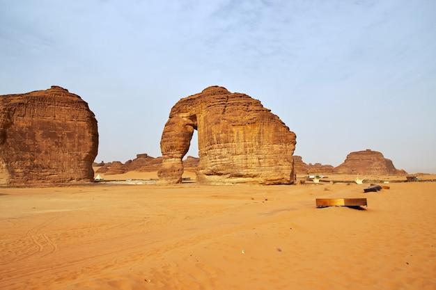 サウジアラビアのアルウラ近くの砂漠にいる石の象 Premium写真