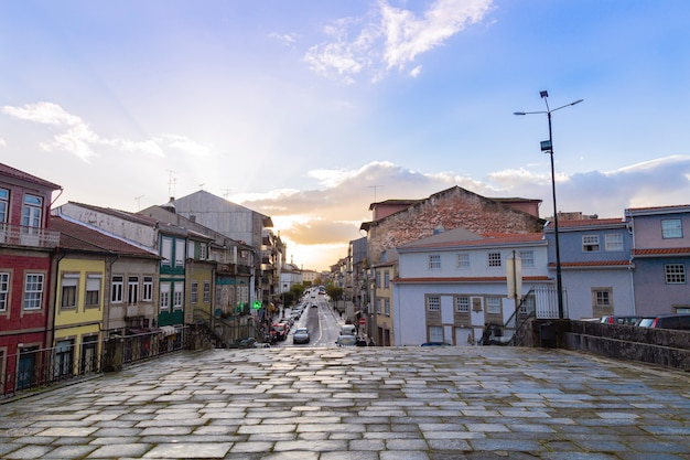 Stone path in the city of braga in portugal, with sunset, november 2019 Premium Photo