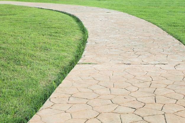 Stone pathway in a lush green park. Premium Photo