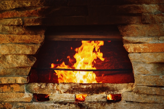 Stone stove burning logs Premium Photo