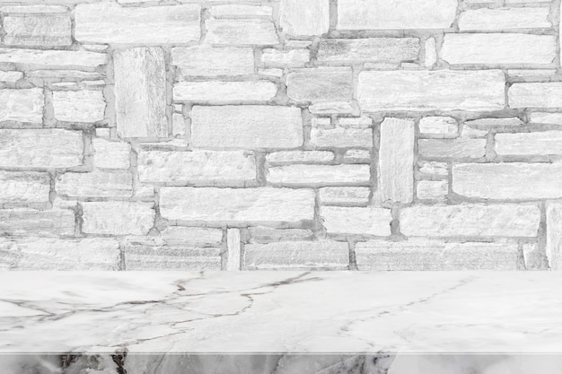 Stone Table Top And Background Of White Granite Stone Wall   Can Used For  Display Or