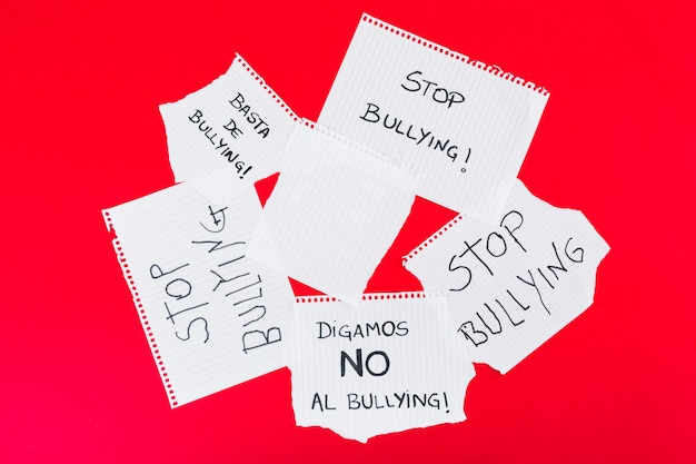 Stop bullying slogans in different handwriting Premium Photo