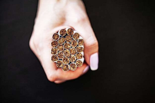 Stop smoking concept with broken cigarettes. Premium Photo