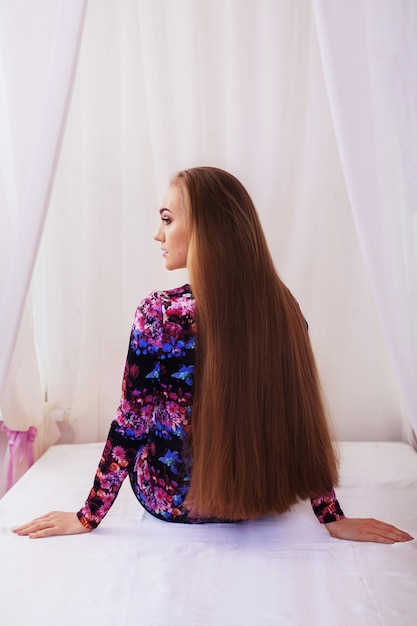 Straight is very long hair. Premium Photo