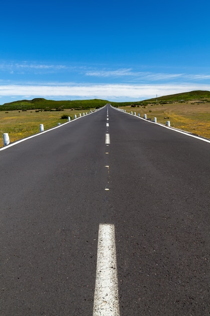 A straight road over the area with a blue sky and clouds in the distance Premium Photo
