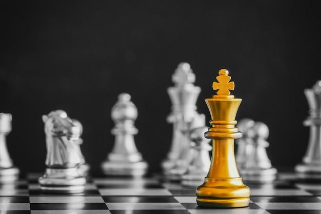 Strategy chess battle intelligence challenge game on chessboard. Premium Photo