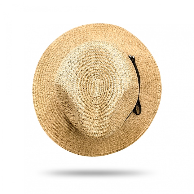 Straw hat isolated on white background. panama hat style with black ribbon. Premium Photo