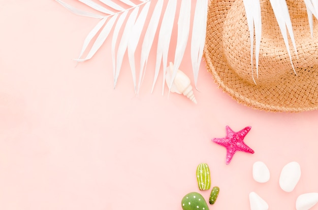 Straw hat with palm leaf and sea star Free Photo