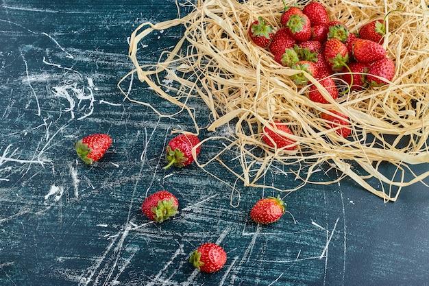Strawberries in a bird nest. Free Photo