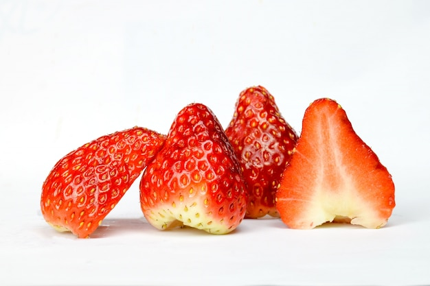 Strawberry cut in hald Free Photo