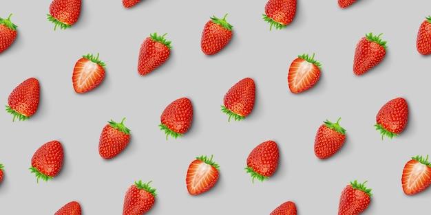Strawberry seamless pattern, top view, flat lay Premium Photo