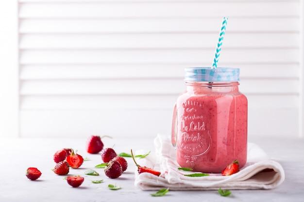 Strawberry smoothie. summer refreshing drink. Premium Photo