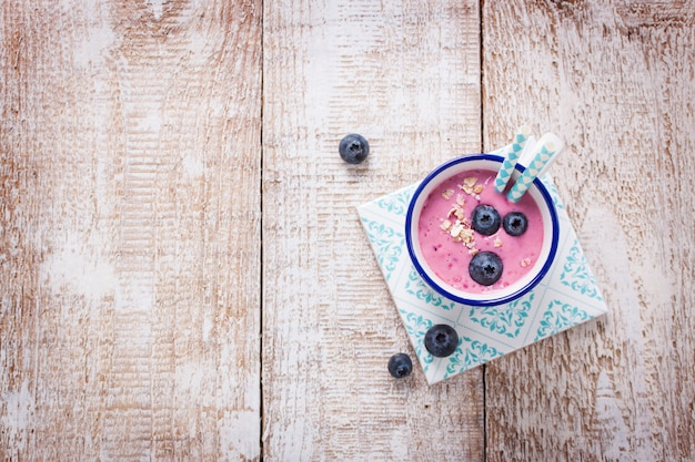 Strawberry smoothie with blueberries Free Photo