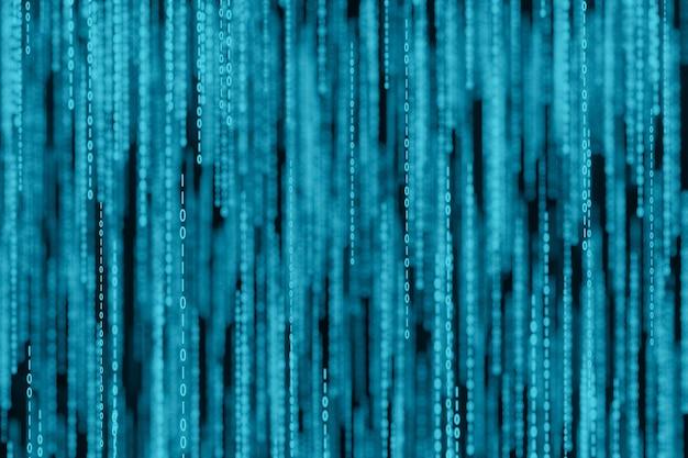 Поток двоичных матричных кодовых чисел на экране 3d-рендеринга Premium Фотографии