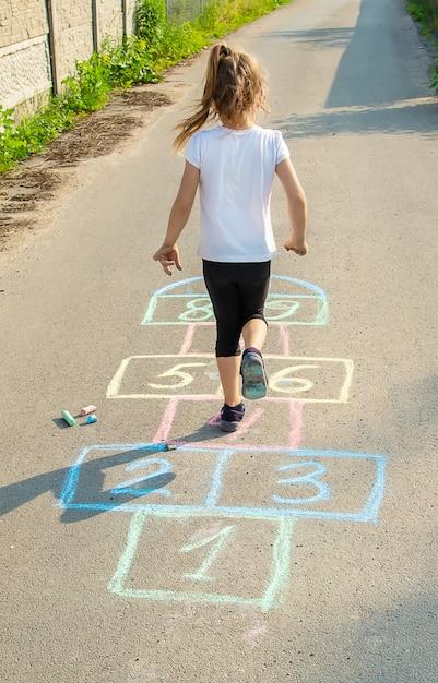 Street children's games in classics. selective focus. Premium Photo