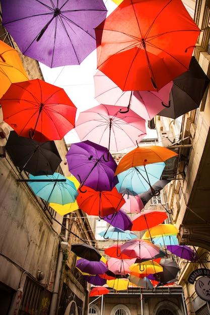 Street full of umbrellas Free Photo