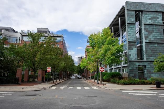 현대적인 건물과 푸른 나무가있는 거리 무료 사진
