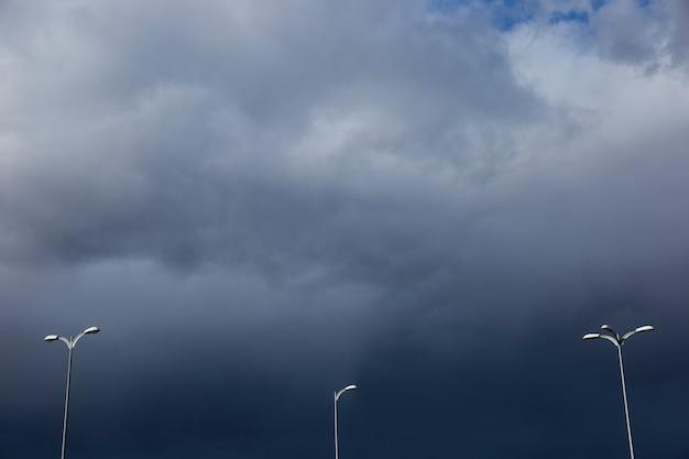 Streetlights on cloudy day Free Photo