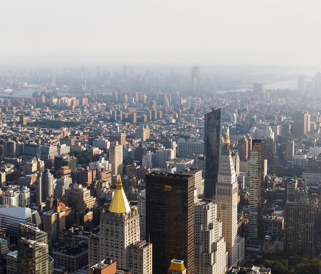 Улицы и крыши манхэттена. нью-йорк, центр манхэттена, вид с вершины эмпайр-стейт-билдинг. с высоты птичьего полета Premium Фотографии