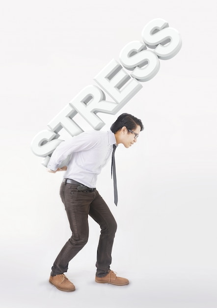 Stressed asian man carrying on his back shoulders large text stress Premium Photo