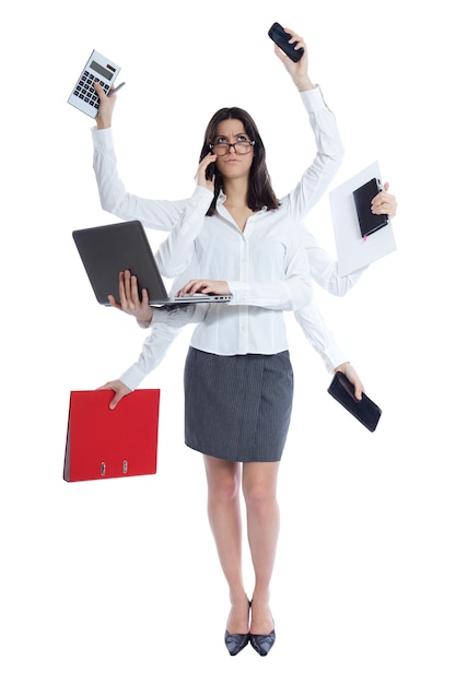 Stressed businesswoman at work. isolated on white Free Photo