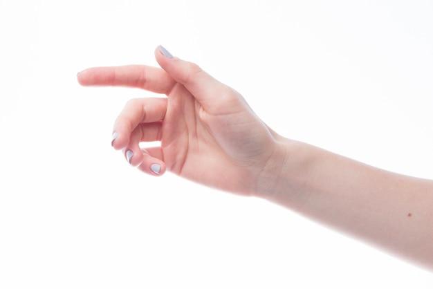흰색 배경에 뻗어 손 프리미엄 사진
