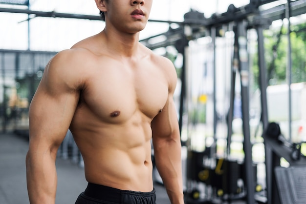Strong fitness man posing muscular body and doing exercises for bodybuilder in the gym Premium Photo