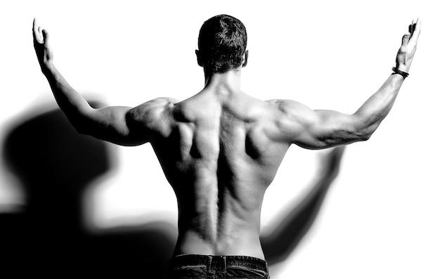 Strong man back on black and white Free Photo