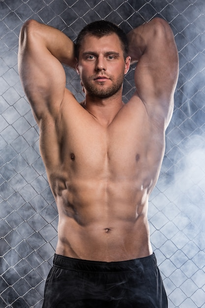 Strong man on fence Free Photo