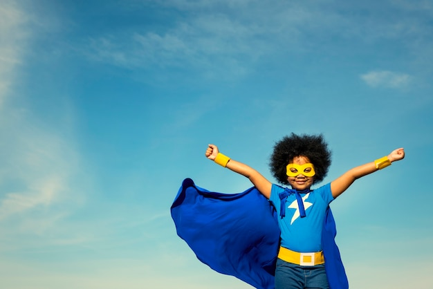Strong superhero girl with superpowers Premium Photo