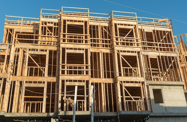 Structure of wood in construction Premium Photo