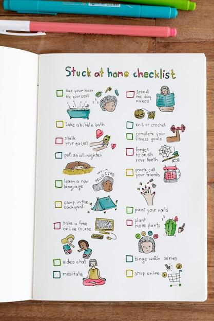 ノートブックの自宅チェックリストで立ち往生 無料写真