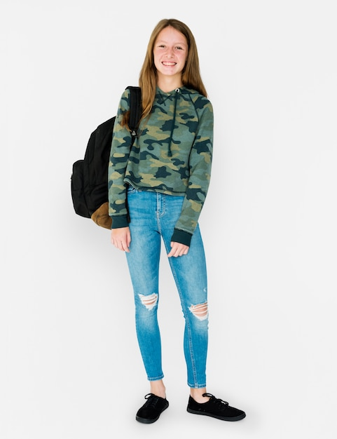 Student girl casual standing with smiling Premium Photo