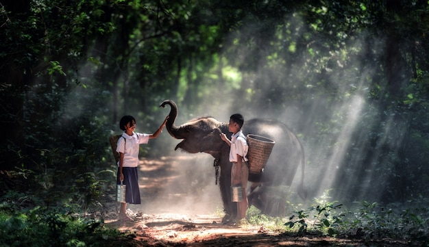 Student little asian boy and girl, countryside in thailand Premium Photo