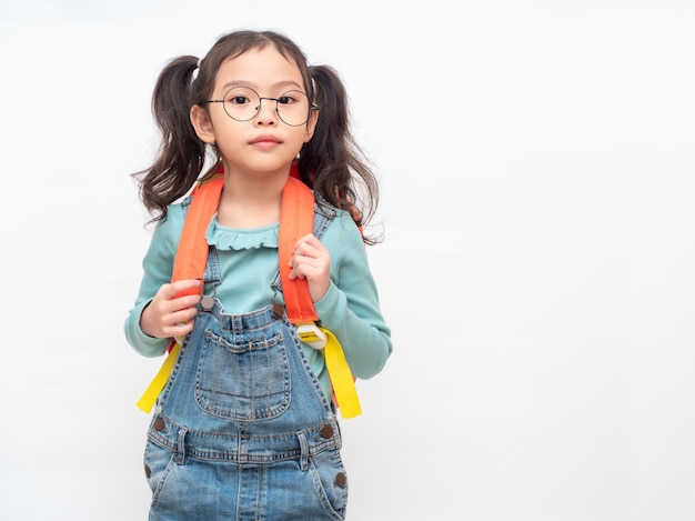 Student lovely kid with preparing back to school. Premium Photo