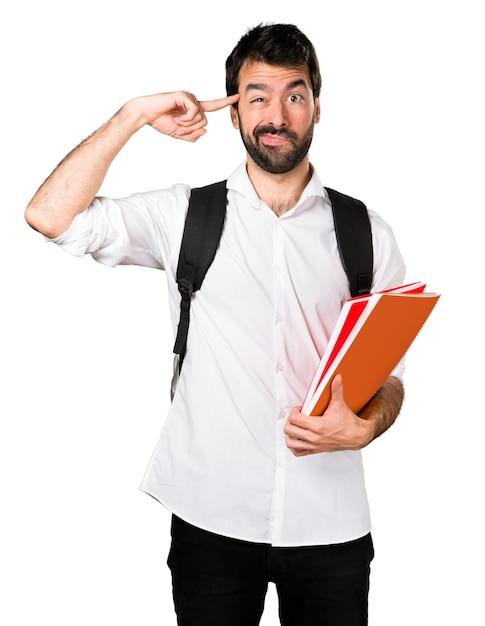 狂ったジェスチャーを作る学生の男 無料写真