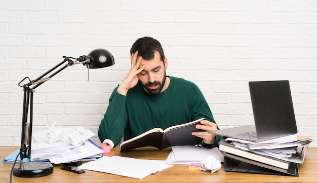 Student man stressed overwhelmed Premium Photo