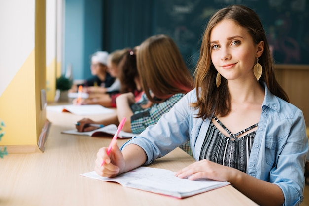 Student teen looking at camera