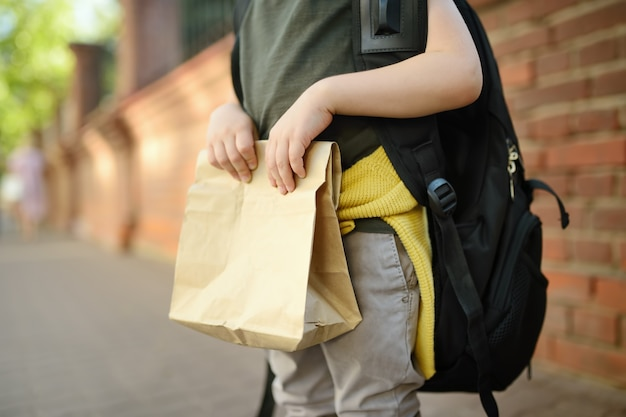 Student with big backpack and lunch bag near the school building. Premium Photo