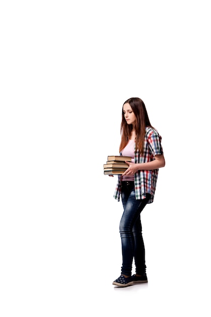 Student with books isolated on the white background Premium Photo