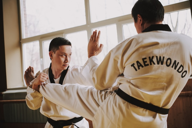 Students practice martial arts in the gym. Premium Photo