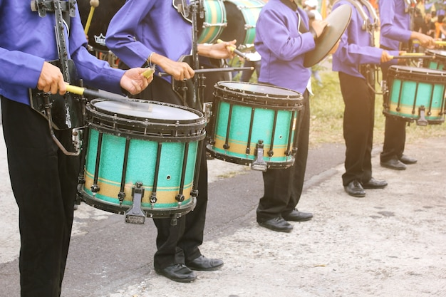 The students of the school's drumming school orchestra. Premium Photo