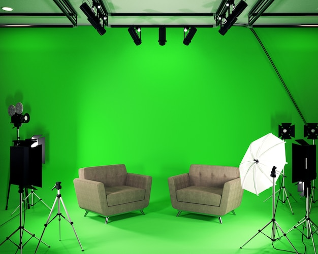 Studio big - modern film studio with green screen. 3d rendering Premium Photo