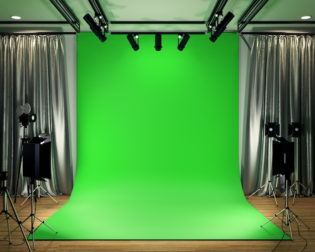Studio big - modern film studio with green screen. 3d rendering Premium Photo