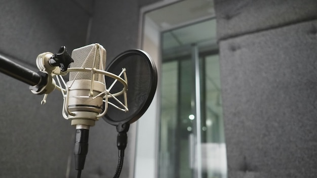 Studio microphone with pop filter Premium Photo