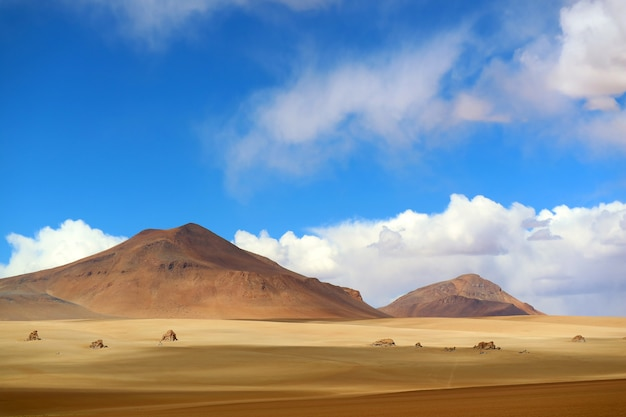 Stunning landscape of the salvador dali desert in eduardo avaroa andean fauna national reserve, sur lipez, bolivia Premium Photo