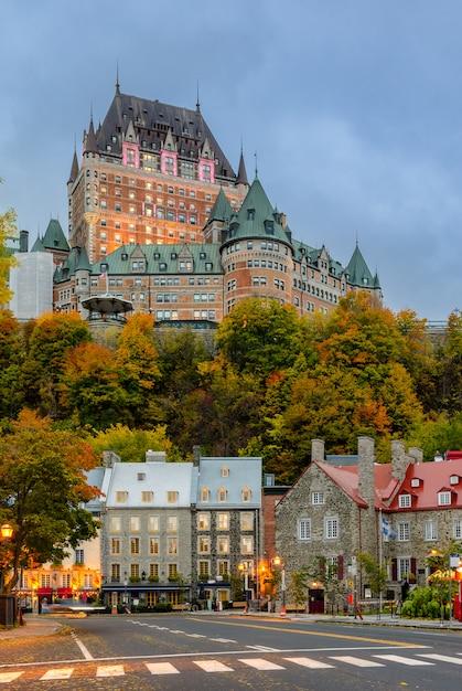 Stunning twilight view of old quebec city in autumn season, quebec, canada Premium Photo