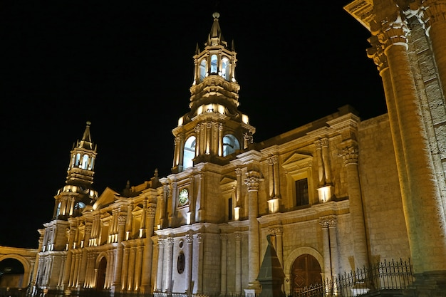Stunning view of the basilica cathedral of arequipa by night, peru, south america Premium Photo