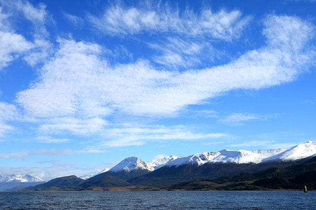 Stunning view of snow capped mountain ranges along the beagle channel, ushuaia, argentina Premium Photo